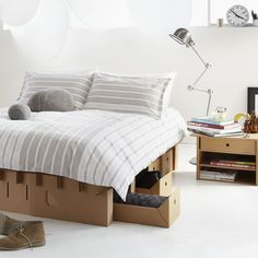 The Paperpedic Bed. Very strong cardboard bed and furniture.