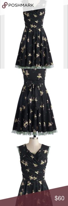 Effie's Heart ModCloth dress!NWT Effie's Heart new with tags Tendo Dance dress! Black dress with dancing ballerinas! Outlined in mint green! Cotton blended dress! Ties in the back. Size Small! 36.5 inches long. Bust laying flat a little over 15 inches! ModCloth Dresses Midi