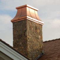 A chimney hat is a protective addition that you can place upon the top of your chimney to keep rain, wind, debris, or animals from traveling alongside the chimney and into your home. Copper Awning, Copper Roof, Metal Roof, Outdoor Wood Burning Fireplace, Backyard Fireplace, Copper Gutters, Chimney Cap, Exterior Trim, French Country House