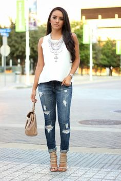Maytedoll - Statement Silver Necklace + Distressed Ripped Jeans http://FashionCognoscente.blogspot.com