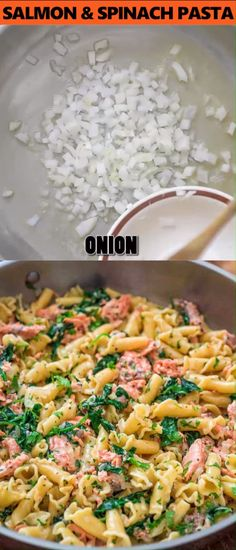 This Salmon Pasta with Spinach is a deliciously easy pasta recipe with chunks of. - This Salmon Pasta with Spinach is a deliciously easy pasta recipe with chunks of tender salmon and - Salmon Recipes, Fish Recipes, Seafood Recipes, New Recipes, Vegetarian Recipes, Dinner Recipes, Cooking Recipes, Healthy Recipes, Spinach Recipes