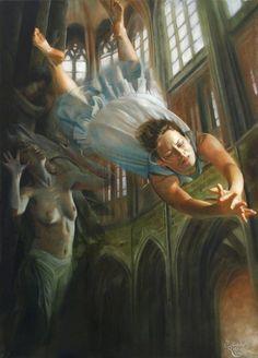 "Painting by Viennese surrealist painter and cellist, Jolanda Richter: ""I hear music when I paint."""