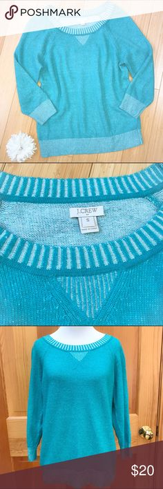 J. CREW fun sweater, S. Fun sweater in a playful teal color by J.Crew, size small. 37% viscose, 35% nylon, 28% merino wool. Bust is 19 inches, length is 24 inches, sleeve about 19 inches. Very good condition with just a minor bit of fuzziness, great color! J. Crew Sweaters Crew & Scoop Necks