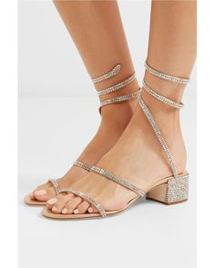 2376d5256 Rene Caovilla - Cleo Crystal-embellished Metallic Satin And Leather Sandals  - Lyst Rene Caovilla