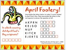 April Fools' Day Printable Word Scramble  -  Pinned by @PediaStaff – Please Visit http://ht.ly/63sNt for all our pediatric therapy pins