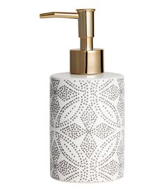 Check this out! Soap dispenser in stoneware with a printed pattern and a plastic pump. Diameter 3 1/4 in., height 6 1/2 in. - Visit hm.com to see more.
