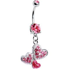 piercing Pink Gem Trio of Hearts Belly Ring Cute Belly Rings, Belly Button Piercing Jewelry, Bellybutton Piercings, Cute Piercings, Piercing Ring, Body Piercings, Belly Button Rings, Piercing Ideas, Tongue Piercings