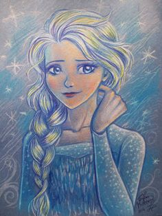 Disney's Frozen Queen Elsa Fan Art by ShopVintageChickadee on Etsy, $15.00