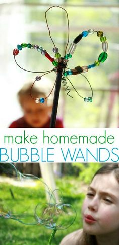Make homemade bubble wands with wire and beads...