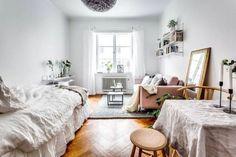 80 Stylish Apartment Studio Decor and Furniture Ideas - wholiving Minimalist Studio Apartment, Studio Apartment Design, Small Studio Apartments, Studio Apartment Decorating, Studio Design, Single Apartment, Apartment Living, Apartment Furniture, Apartment Interior
