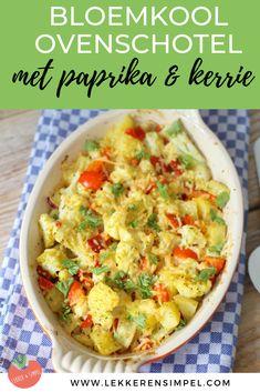 Op zoek naar een lekkere ovenschotel? Deze vegetarische bloemkool ovenschotel met paprika en kerrie is dan echt iets voor jou. De vleesliefhebber kan natuurlijk een stukje kip, spek of gehakt toevoegen. Klik op de foto om het recept te bekijken! Veggie Recipes, Vegetarian Recipes, Healthy Recipes, Doh Vinci, Oven Dishes, Weird Food, Family Meals, Food Inspiration, Love Food
