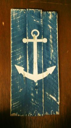 Pallet Wood Art The Anchor In Distressed by TheNorthwestNative Painted Pallet Art, Wood Pallet Art, Wood Pallet Furniture, Pallet Painting, Pallet Crafts, Painted Signs, Wood Pallets, Wood Art, Wood Crafts