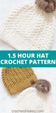 Do you love simple and easy hat crochet patterns? Then this free chunky beanie crochet tutorial is a must try. It works up in Easy Crochet Hat, Bonnet Crochet, Crochet Simple, Crochet Kids Hats, Crochet Clothes, Chunky Crochet, Beginner Crochet Hat, Free Crochet Patterns For Beginners, Crochet Hat For Women