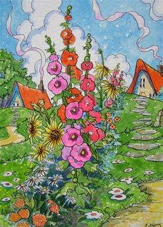 """Flower Fences Make for Better Neighbors Storybook Cottage Series"" - Original Fine Art for Sale - � Alida Akers"