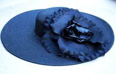Handmade designer hat  Wide brim hat  Romantic black by LALcouture, $75.00
