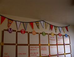 Giant whiteboard calendar.  I like the idea of having a big enough calendar to be visible from across the room. Mark everything on it: quizzes in blue, tests in red (count back 3 days & write a reminder to study & review), special events in green