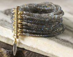 Labradorite Multi-Strand Beaded Gemstone Bracelet / Blue Topaz / Matte Gold Beads / Semi-Precious Beaded Cuff / Charm / 14KGF Clasp