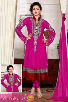 Dresses :-Look stunningly gorgeous clad in this pink shade pure net anarkali suit. Kameez is enhanced with vertical patch panels. Decorative patterns adorned with zardosi, sequins, stones, crystals and bugle beads beautifies the neck patch. Contrast and fancy patch panels accentuates the kameez.embroderied design in full sleev,raddish velvet collar and bottom patta,These dresses can be worn at wedding,engagements or at any other festival.matching bottom and dupatta.  $98.97 matwali.com