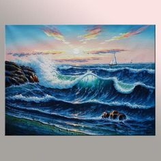 Art Reliable Ocean View Waves Sunset Large Oil Painting Canvas Sea Seascape Contemporary Art Street Price