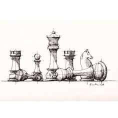 Chess Pieces Sketch Drawing Sketches Art Art Sketches Chess Board Sketch At Paintingvalley Com Explore Collection Of Sketch Chess Images Art Inspo, Inspiration Art, Drawing Sketches, Pencil Drawings, Art Drawings, Drawing Ideas, Sketching, Pen Sketch, Sketch Tattoo
