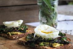 Great way to get your breakfast veggies: Garlicky Swiss Chard and Egg Toast, ideal for Phase 3.