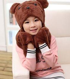 >> Click to Buy << Autumn and winter parent-child thermal scarf hat gloves three pieces set children's warm hat kids cartoon hat glove set #Affiliate