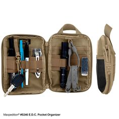 """E.D.C. POCKET ORGANIZER  $24.99 Handy every day carry organizer with slim-bodied exterior   Product Features Main compartment: 6""""(L) x 1""""(W) x 8""""(H) View Product Dimensions Diagram Full clamshell opening main compartment with dual zips Inside left: Slip pocket; key ring; elastic organizer with 9 divisions Inside right: Slip pocket; tie-down loop; elastic organizer with 6 divisions Front exterior: 2"""" x 3"""" loop field for patches; mesh slip pocket with hook-and-loop closure Back exterior…"""