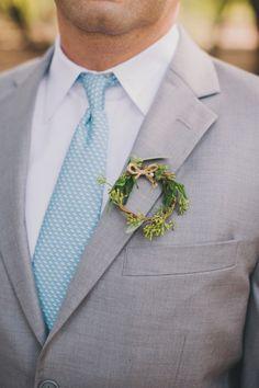 Wreath boutonniere: http://www.stylemepretty.com/2014/12/17/rustic-elegance-malibu-wedding/ | Photography: Heidi Ryder - http://heidiryder.net/
