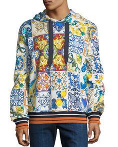 Dolce & Gabbana Men's Maiolica Tile-Print Pullover Hoodie Sweatshirt