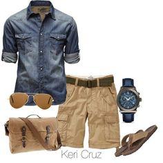 denim/chambray shirt. khaki cargo shorts. sandals. watch. shades. messenger bag. beach. getting away. real. simple. style.