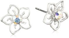 Aurora Borealis Swarovski Elements Petite Flower Sterling Silver Stud Earrings >>> Find out more about the great product at the image link. (This is an Amazon Affiliate link and I receive a commission for the sales)
