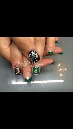 Saskatchewan Roughrider Nails by Becky Taman