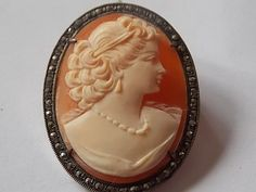 Vintage Silver Marcasites SIGNED Cameo by BraceletstoBuckles #ecochic #vintage #jewelry #etsy