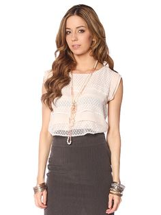 LACE DETAIL TIERED DRESSY TOP