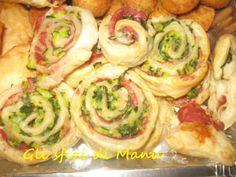 Girelle di sfoglia con salumi affettati e verdure