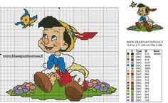 Disney's Pinocchio Counted Cross-Stitch Pattern with Legend Disney Cross Stitch Patterns, Counted Cross Stitch Patterns, Cross Stitch Embroidery, Pinocchio, Cross Stitch Fairy, Stitch Cartoon, Cross Stitch Needles, American Dad, Adventure Time Art