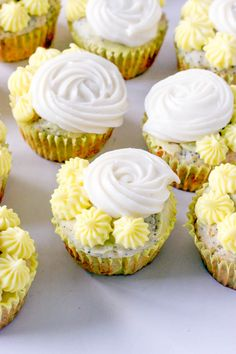 These lemon poppyseed cupcakes are light and moist and bursting with lemon flavor, with a rich lemon cream cheese frosting. Lemon Cupcakes, Yummy Cupcakes, Cupcake Frosting, Cupcake Cakes, Bundt Cakes, Cup Cakes, Cupcake Recipes, Dessert Recipes, Lemon Desserts