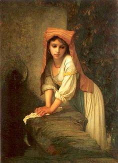 Young pensive girl - Antoine-Auguste-Ernest Hebert (1817-1909)