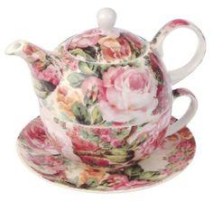 Maxwell & Williams S34025 Royal Old England Teeservice für 1 Person, Teekanne, Teetasse, Untertasse, Motiv: Wildrose, in Geschenkbox, Porzellan