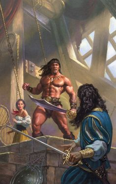 CONAN the Barbarian:   In the Defense of his Dwelling Two Swords are in a Combative Stance