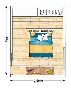 Plano de habitación con cabecero que divide espacios