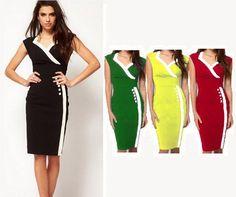 $19.71 - Summer Fashion Women Casual Dress Vintage Elegant Pencil Patchwork New 2014 Women Clothing Long Evening Bodycon Dress Vestidos