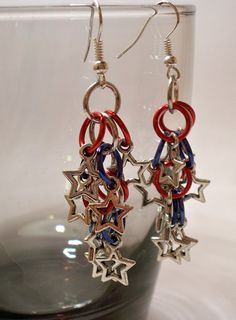Red White and Blue Spangle Earrings by MerriksMusings on Etsy