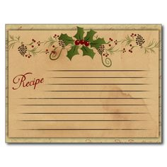 Vintage Christmas Recipe Card Postcard