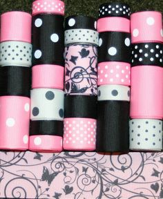 Grosgrain Ribbon Lot MIx 25YDS Pink by FaithRibbonsDotCom on Etsy