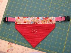 Dog Bandana Free Pattern...I like how this goes on the collar instead of tying around the neck.