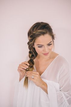 Twisted Side Braid Tutorial - adding multiple rubber bands to braid.