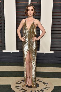 Lily Collins de Yves Saint Laurent Couture