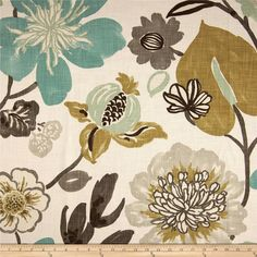Braemore Gorgeous Pearl Multi Colored Floral Home Decor Fabric By the Half Yard