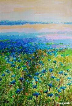 """Blue Field 2"" Watercolor by Gabriela Calinoiu. www.picturipeisaje.wordpress.com Pictura peisaj cu flori albastre. Watercolor Paintings, Wordpress, Landscape, Floral, Artist, Blue, Water Colors, Scenery, Florals"
